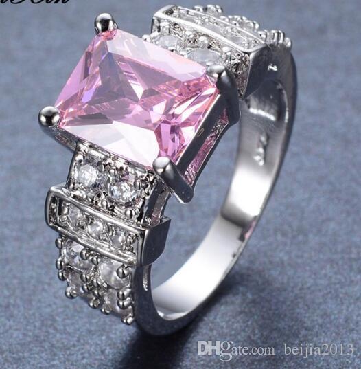 Livraison gratuite taille 6-10 bijoux nouvelle mode cubique zircon émeraude 14 K blanc plaqué or bague RW0755