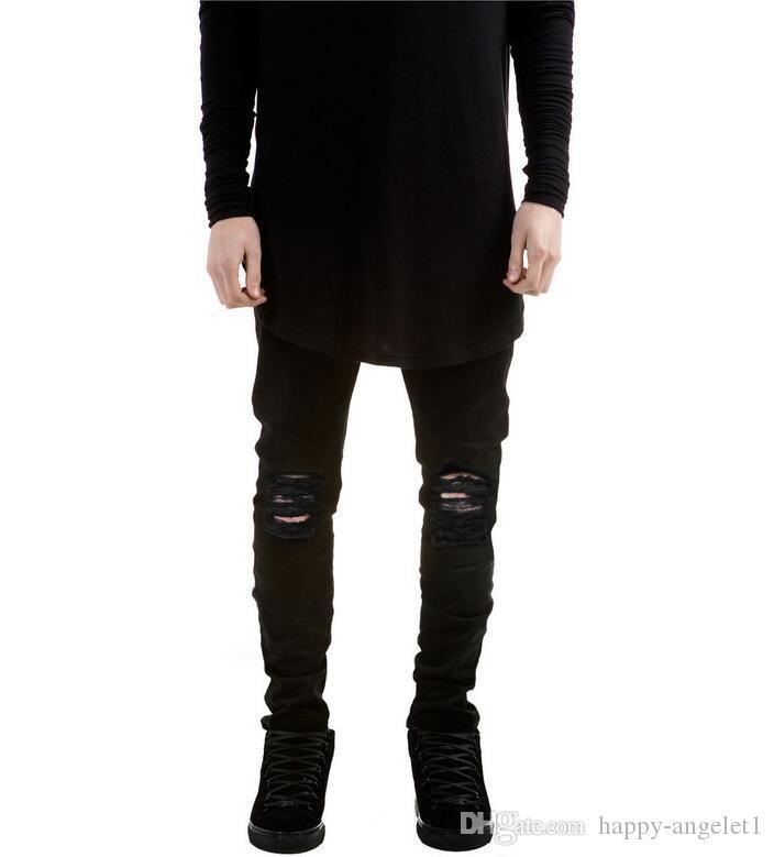 Designer marca new men preto branco jeans skinny rasgado estiramento magro moda hip hop swag man casual denim biker pants macacão basculador