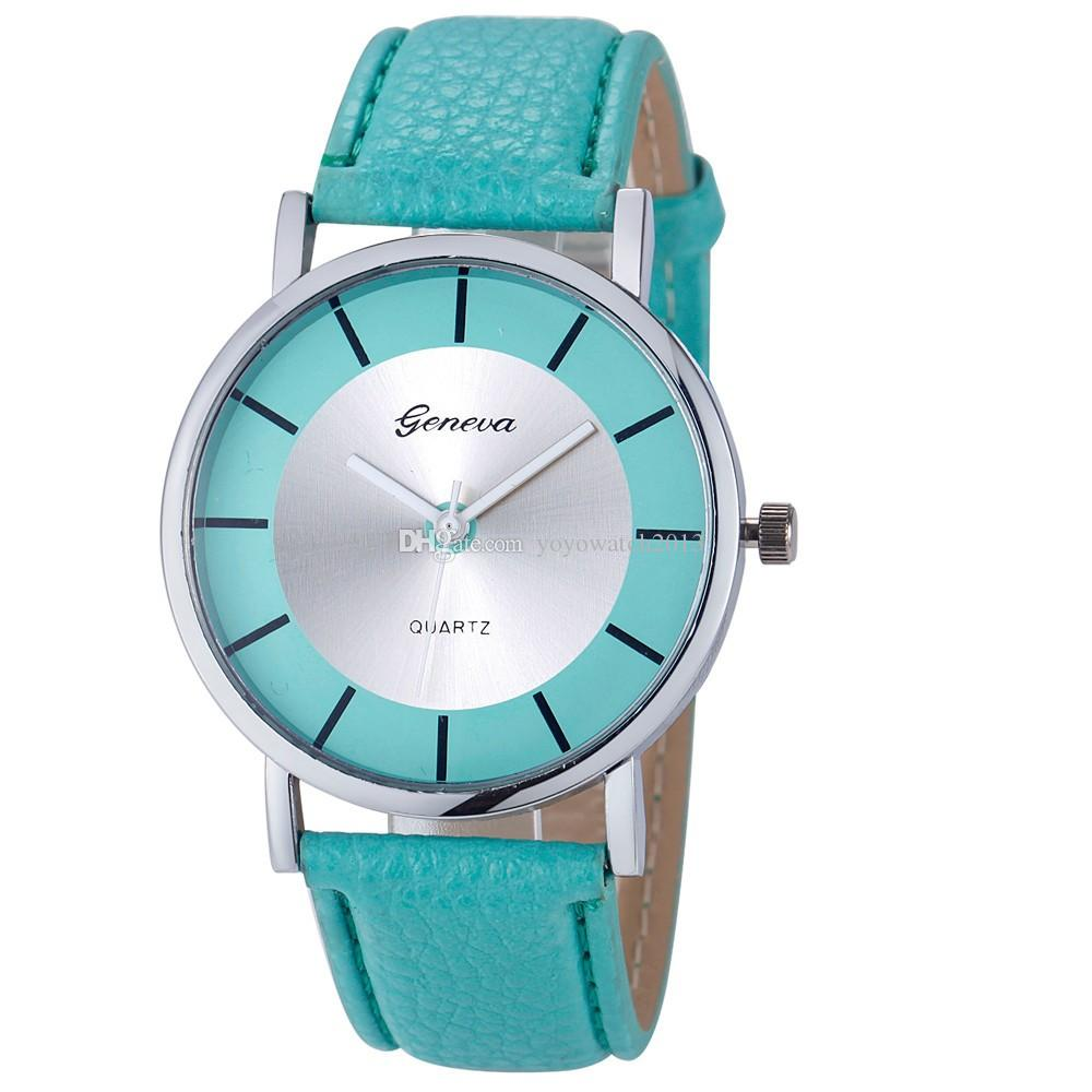 Unisex geneva leather watch simple design fashion mens women ladies quartz dress casual students wrist watches 2017 wholesale