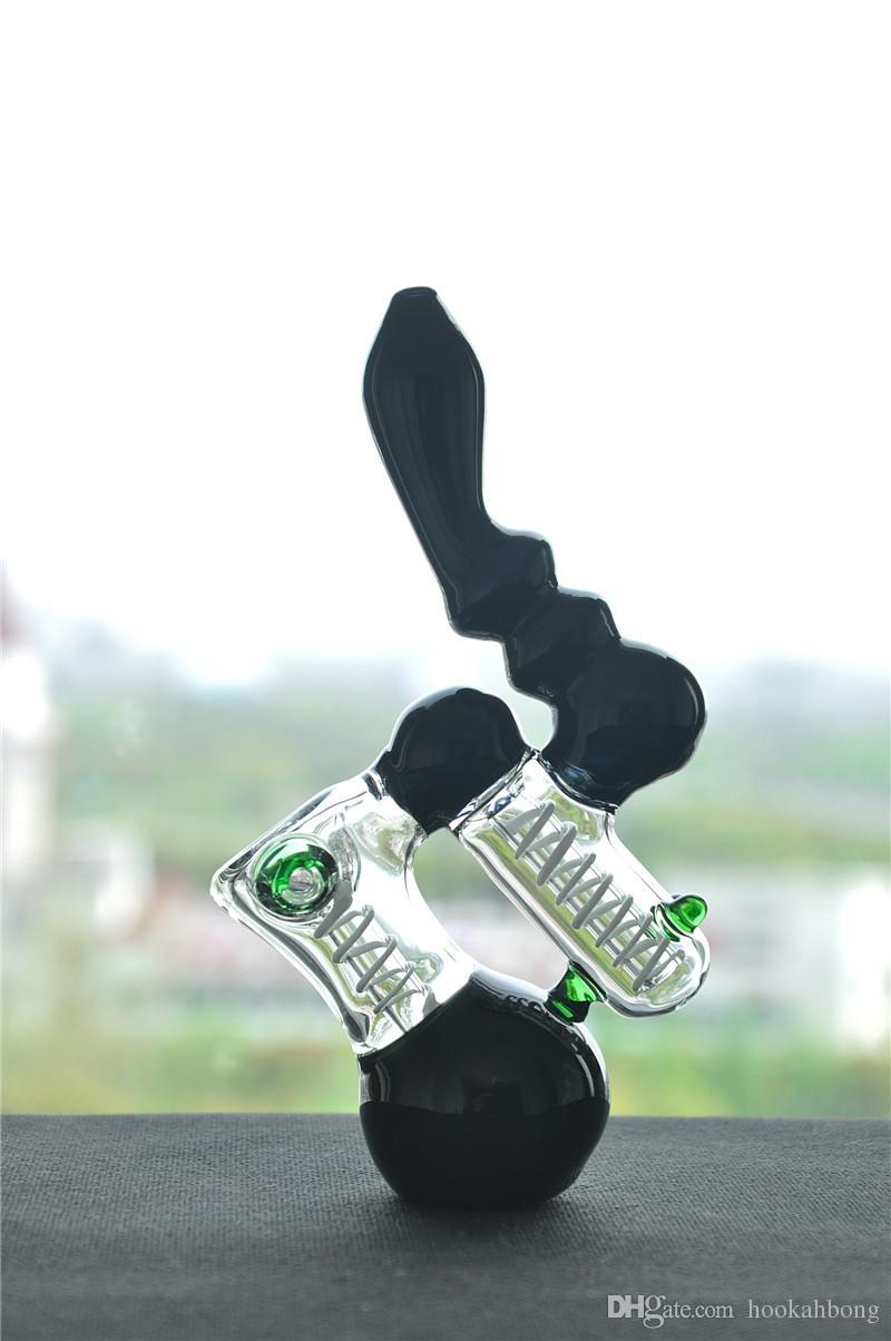 MINI black glass bong bubber water pipe ART oil rigs hookah in very sturdy glass 18 CM HEIIGHT