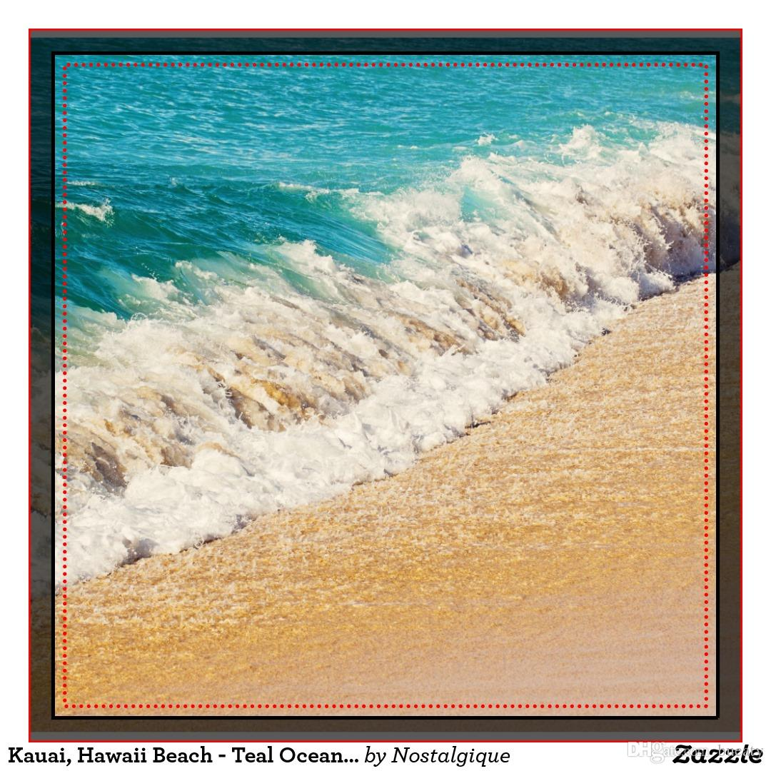 Kauai hawaii beach - cuscino foto in teal oceano onda 50% cotone e 50% lino colore materiale come mostrato 16x16inch 18x18 inch 20x20 inch