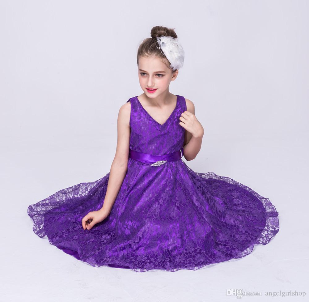 Acquista Vestito Da Ragazza Di Fiore Da Sposa Bambina Vestito Da Cerimonia  Da Spettacolo Principessa Party Abito Formale Senza Maniche Bambina  Adolescente 2 ... 904d4e6ed4d