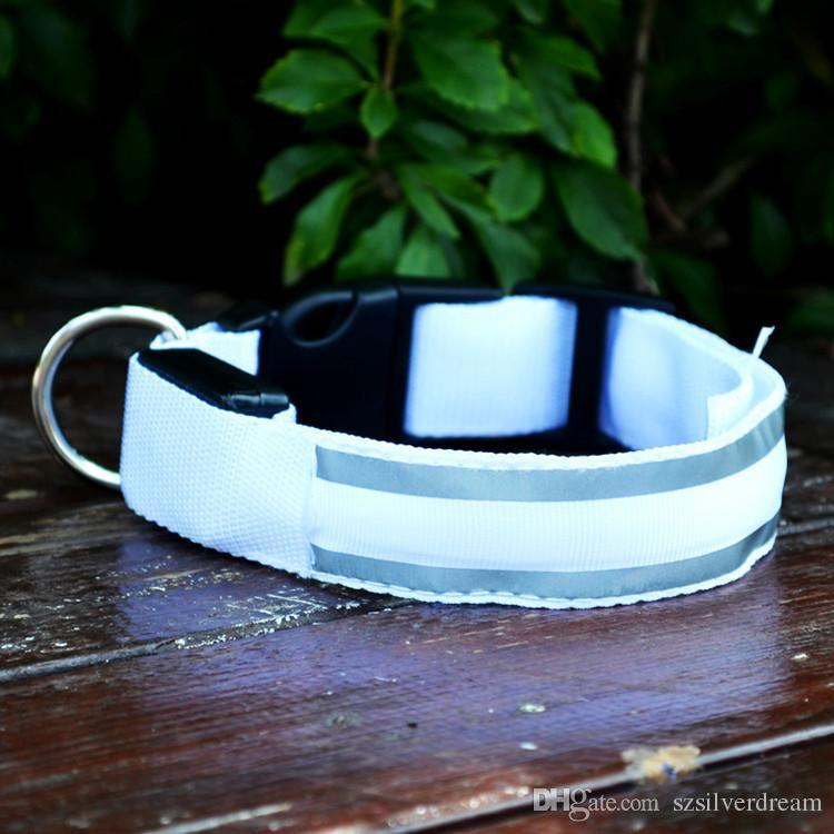 LED Hundehalsband Reflektierende Streifen Haustierhalsband Nylon S M L XL Blau Weiß Orange Gelb Grün Rosa Freies Verschiffen