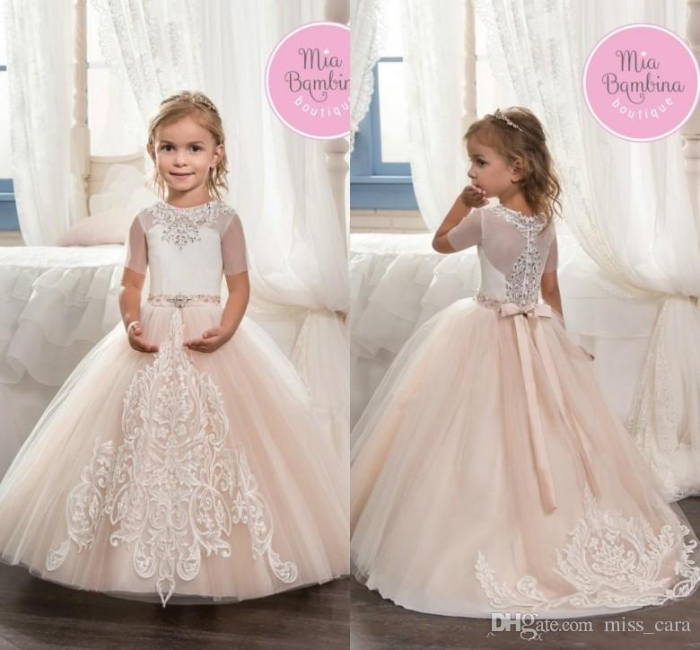 b59360684 Cute Champagne Tulle Short Sleeve Lace Flower Girl Dresses With Bow Ball Gown  First Communion Dresses Little Girls Pageant Gowns Cheap Little Girl Dresses  ...