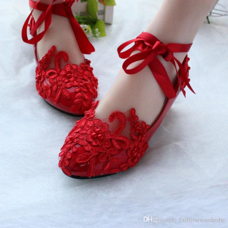 Balerin Düğün Ayakkabı Moda Beyaz Dantel Üst PU Deri Düz Yakın Ayak Düğün Ayakkabıları Beyaz Dantel Inci Düğün Ayakkabı Beyaz