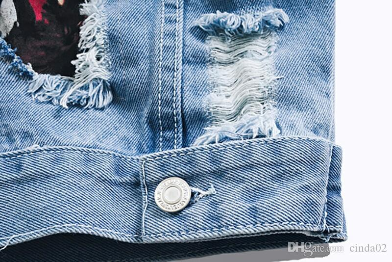 New Fashion Hole Loose Patch's Denim Jacket Street Denim Jacket para hombres y mujeres amantes