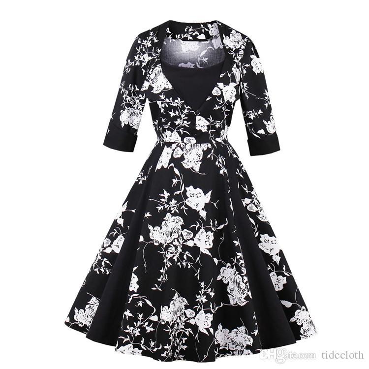 6adfb55b369b8 Women S Vintage 1950s Rockabilly Audrey Hepburn Autumn Fall Dress Pin Up  Slim Big Plus Size Retro Cocktail Party Bridesmaid Swing Dresses Dress  Summer ...