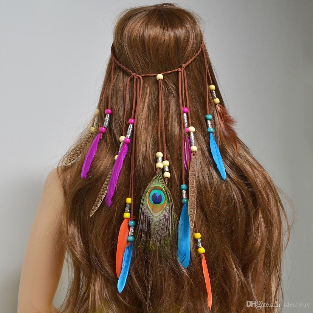 اليدوية العرقية القبلية الغجر التركية حبل الخشب الخرز ريشة هيرباند الشعر كليب الشعر مجوهرات للنساء بنات مجوهرات