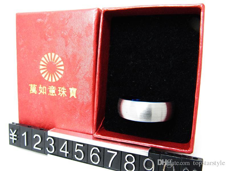 8 mm cepillo centro Brisht azul anillo de tungsteno anillo de dedo de joyería de moda
