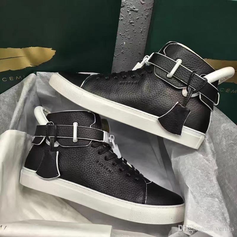 8c2e191df 2018 Luxe Designer Marque Baskets Montantes Vachette Cuir Véritable Mode  Hommes Confortable Casual Chaussures Plates Verrouiller Chaussures Rouge /  ...