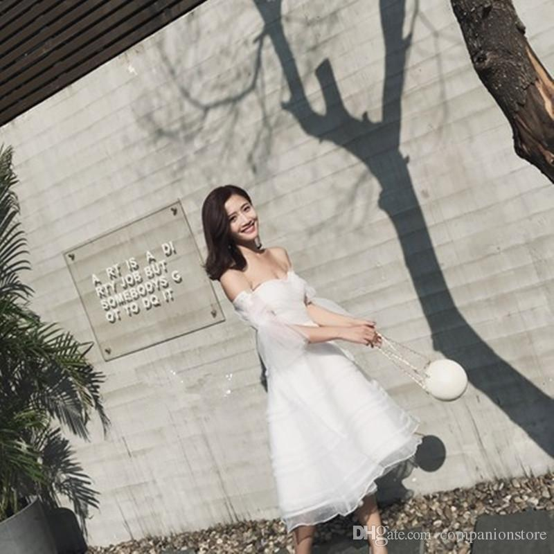 High Quality Tulle Iovry Sweetheart Tea Length Ball Gown Wedding Party Dress Backless Lace Up Trumpet Sleeve Short Homecominng Dress