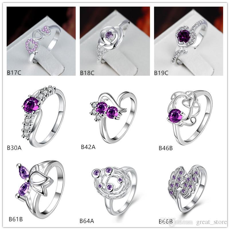 Planet rose pierres précieuses pourpre 925 anneau en argent GTGR25, nouvel anneau en argent sterling 9 pièces mélangé