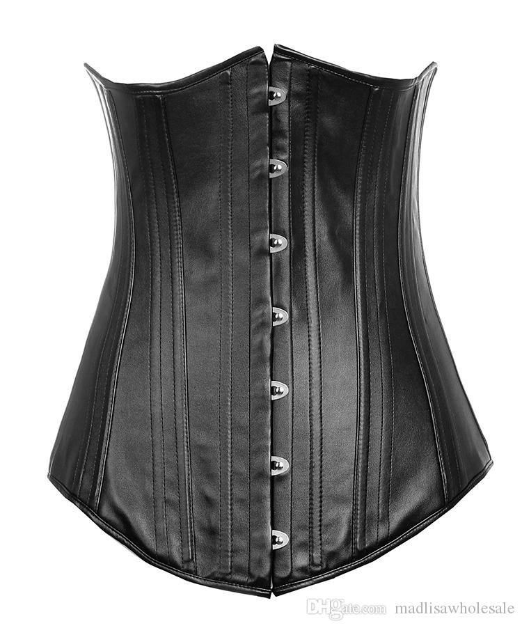 f7bd3bae348fe High Quality Women Slim Waist Trainers Hot Selling Sexy Leather Underbust  Waist Training Corset Bustier Top Waist Cincher for 20 Boning 0843