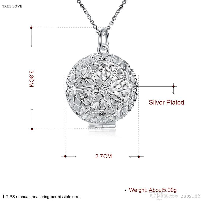 925 silver frame necklace hollow circle can open classic charm jewelry woman top quality
