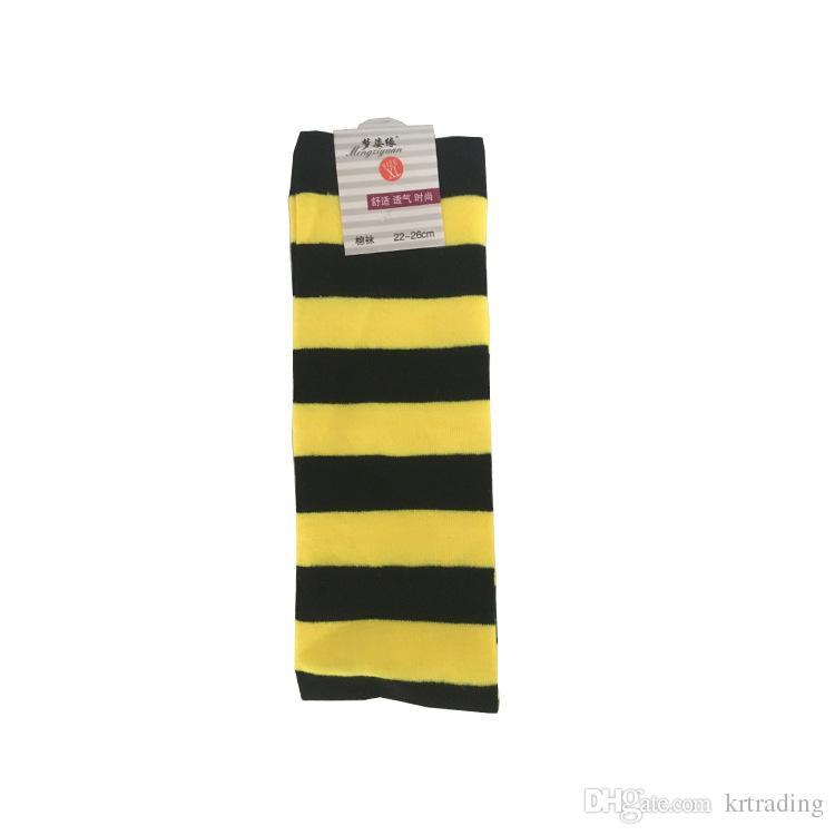 화려한 스트라이프 오버 - 무릎 양말 빨강 노랑 파랑 검정 흰색 스트라이핑 스타킹 응원 팀 양말 코스프레 소품 십대 성인을위한