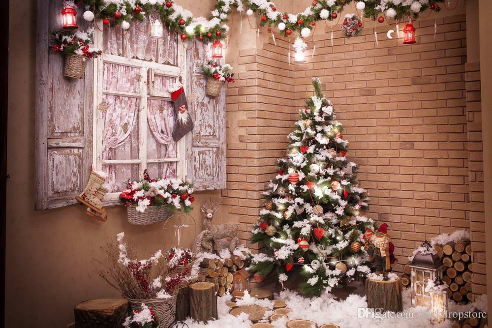 2018 brick wall photography backdrops vintage wooden window light pink floral curtain decorated christmas tree lanterns kids photo background from