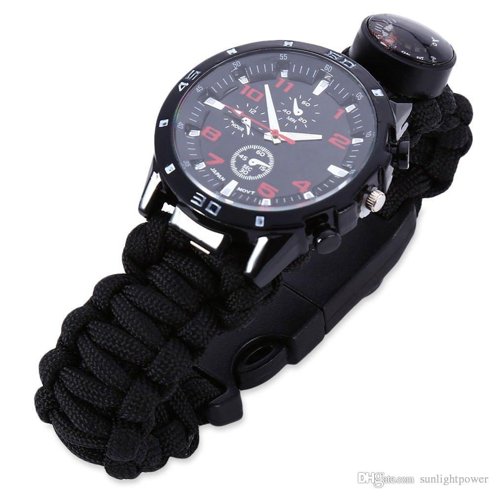 Multifunctional Watch Outdoor Watch Survival Bracelet Whistle Thermometer Compass Starter Gear Bangle Watch Men Women