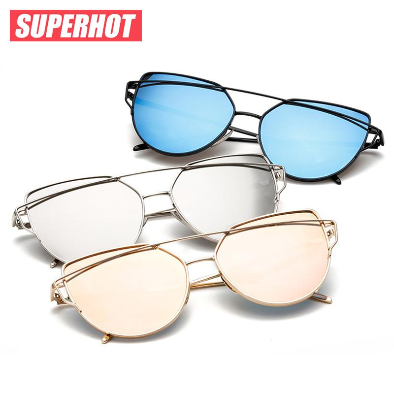 7056f14146 Wholesale SUPERHOT Fashion Mirrored Women Cat Eye Sunglasses Classic Brand  Designer Sun Glasses Twin Beams Eyewear Cat.3 UV400 SP1904 Fastrack  Sunglasses ...