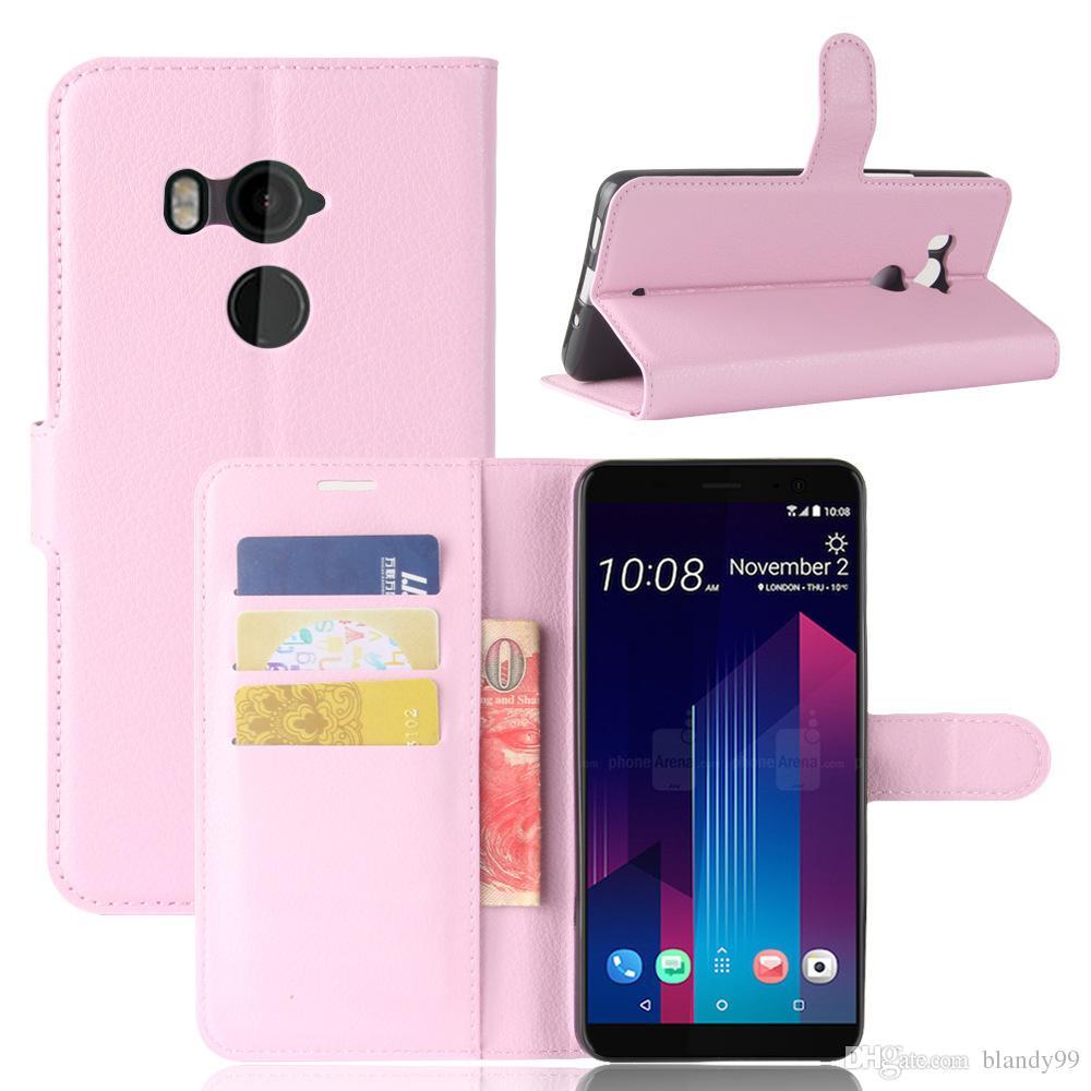 HTC U11 plus Litchi lychee portafoglio custodia in pelle TPU HTC U11 plus