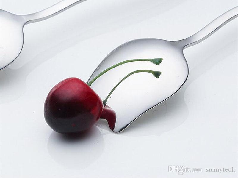 304 Aço Inoxidável Rose Design Colheres de Mistura Espelho Polonês Longo Lidar Com Colheres De Café Cocktail Colheres ZA5209