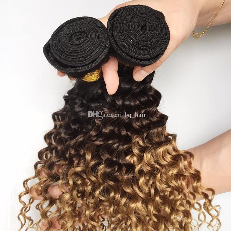 Top Grau 9A Indiano Mel Loiro Ombre Profunda Onda Do Cabelo 3 Pacotes Ombre Extensões de Cabelo Brasileiro Profunda Curls 3 Tone Cabelo Humano tecer