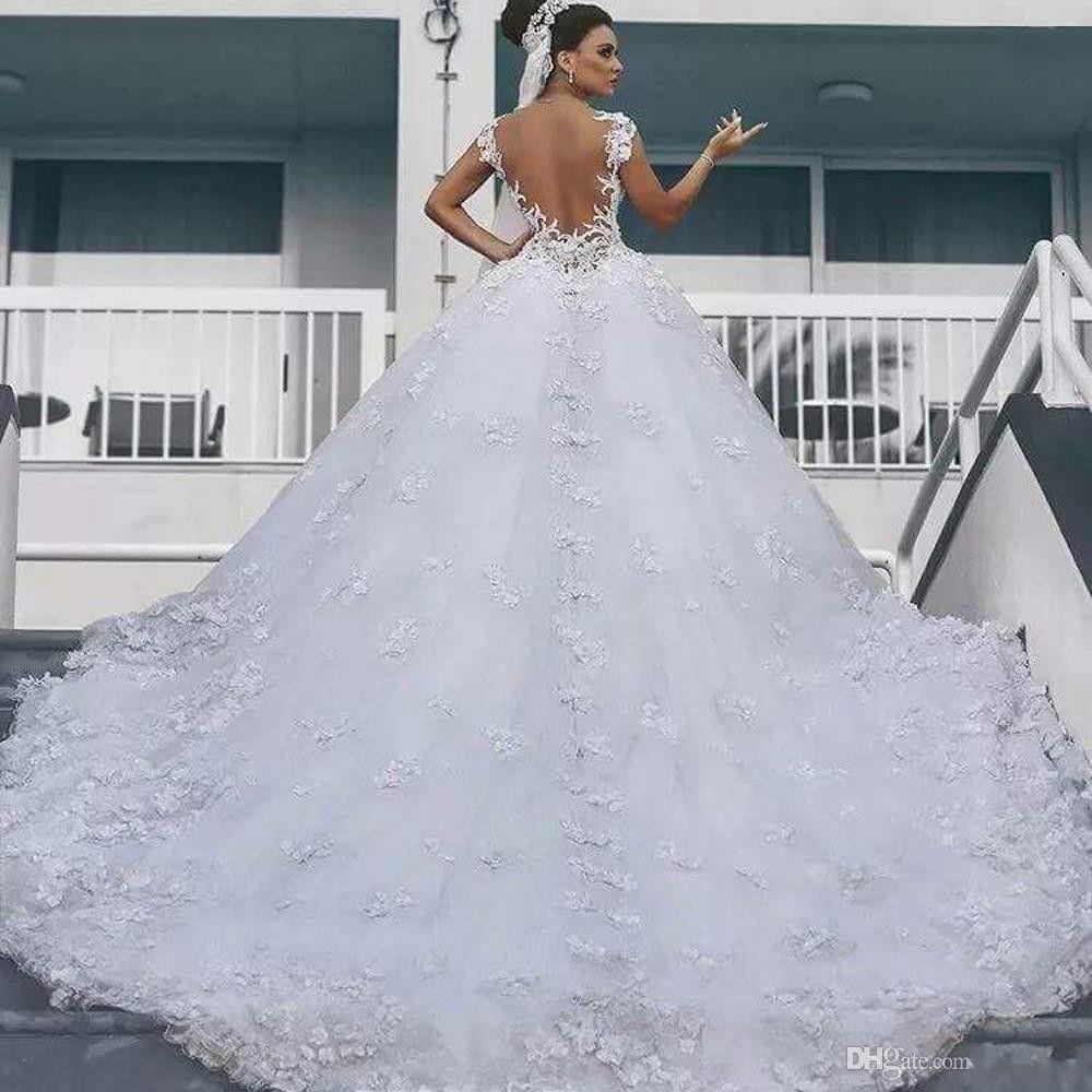 Vintage arabische Illusion O Neck Appliqued Perlen Perlen Cap Sleeve Sheer zurück geschwollene Ballkleider Brautkleider 2018 maßgeschneiderte Brautkleider