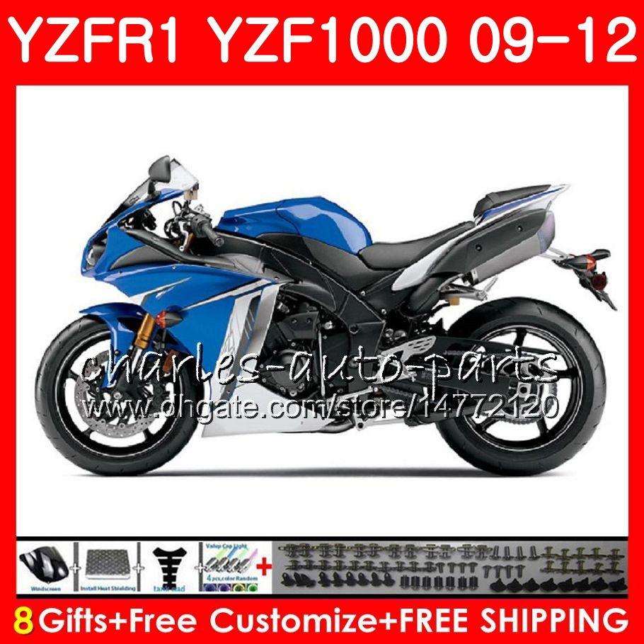Body For YAMAHA YZF 1000 R 1 YZFR1 09 10 11 12 Blue white Bodywork 85NO34 YZF1000 YZF R1 2009 2010 2011 2012 YZF-1000 YZF-R1 09 12 Fairing