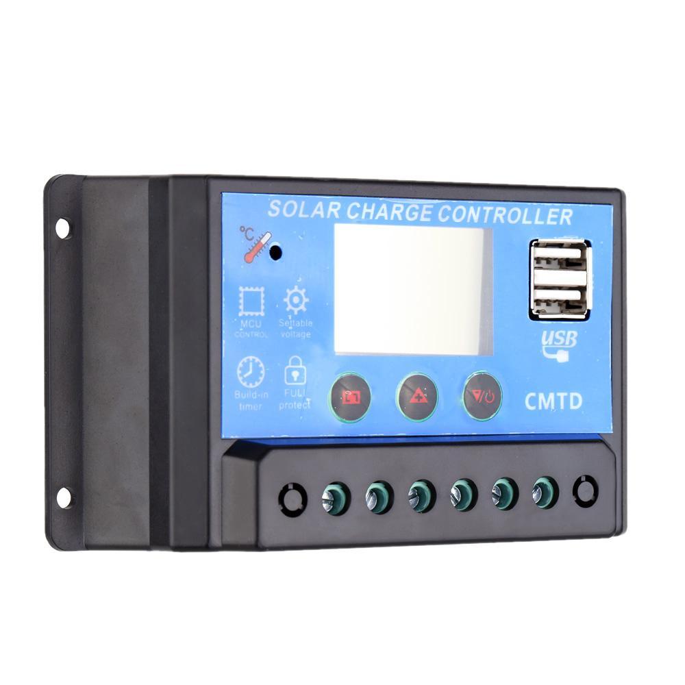 Contrôleur solaire de charge solaire multifonctionnel de la charge 10A avec le contrôleur automatique de décharge de minuterie de régulateur d'affichage d'affichage à cristaux liquides