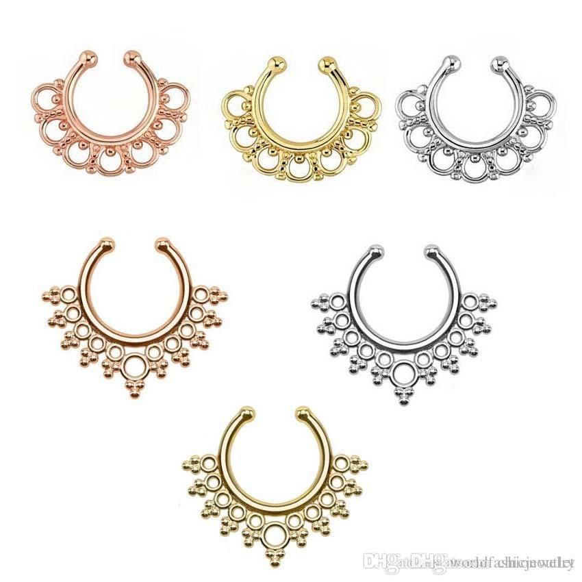 septum ring women nose fake faux non girls rings amazon jewelry piercing clicker dp com