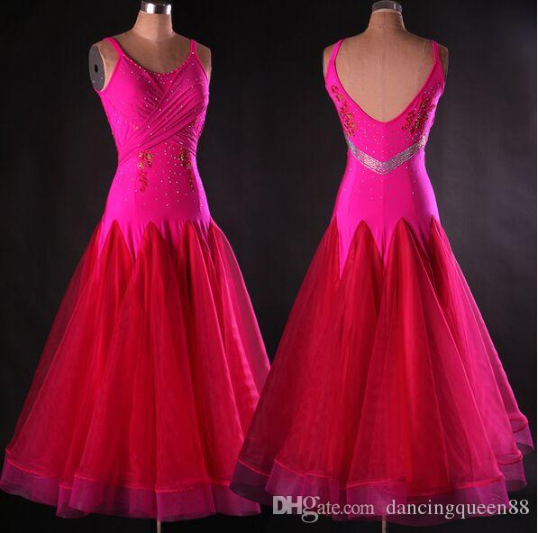 Encargo a Rhinestone Vestido de baile de salón de baile de salón señora Dress Estándar Mujeres Vals vienés vestido dancewear