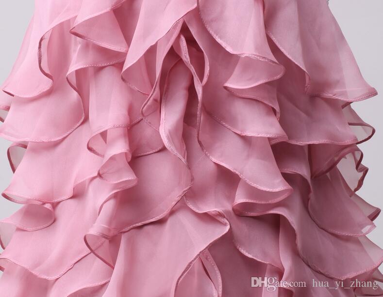 2016 Abiti da ritorno a casa Perline Strati Halter Volant Gonne di chiffon Senza maniche Mini Corto Rosa antico Immagini reali Abiti da ballo