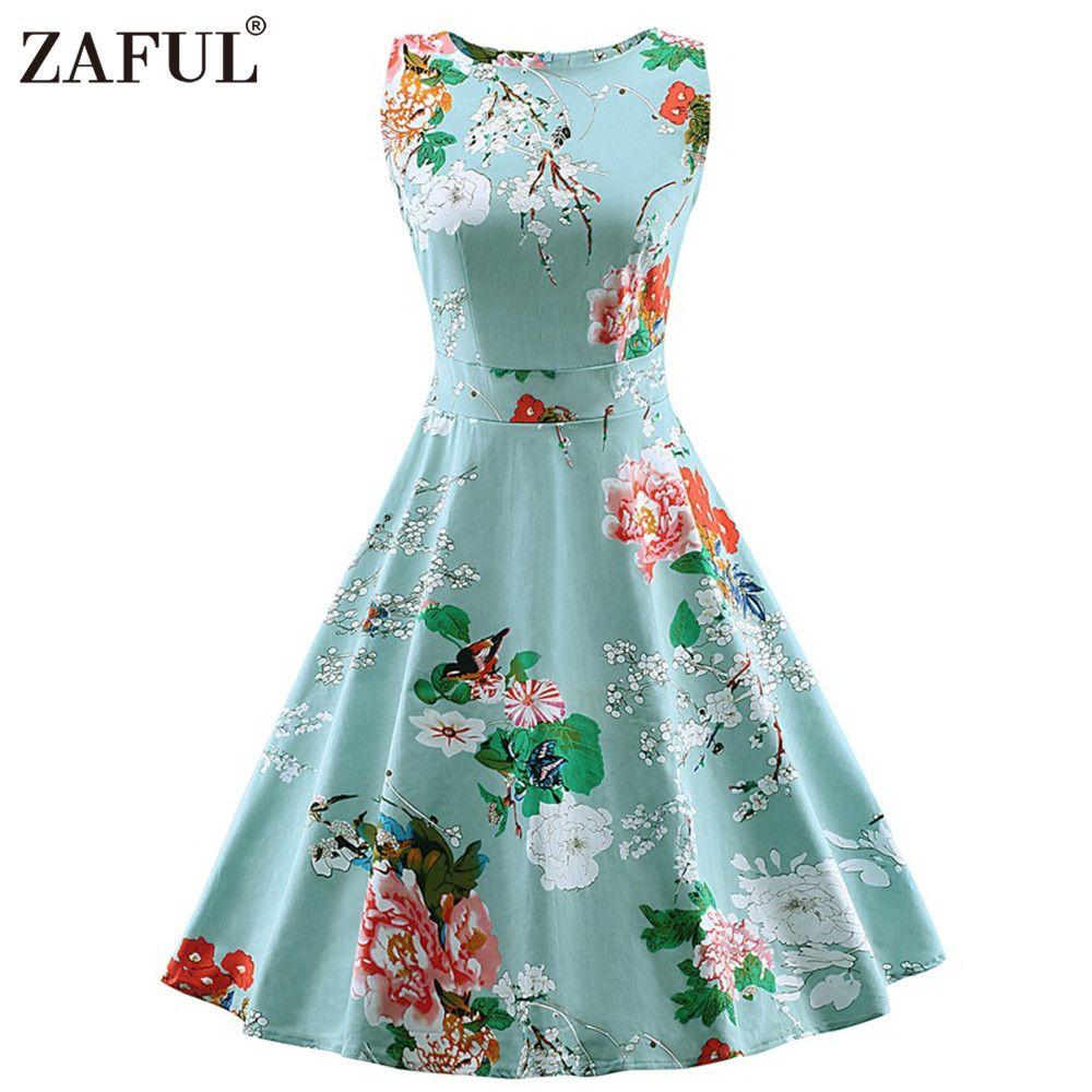 2018 Wholesale Zaful Vintage Women Dress Feminino Robe Rockabilly ...