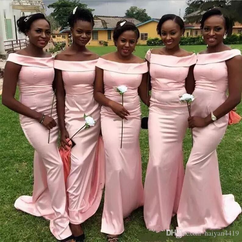 2017 New Cheap African Mermaid Bridesmaid Dresses Long For Weddings Pink Satin Off Shoulder Floor Length Maid of Honor Gowns Under $100