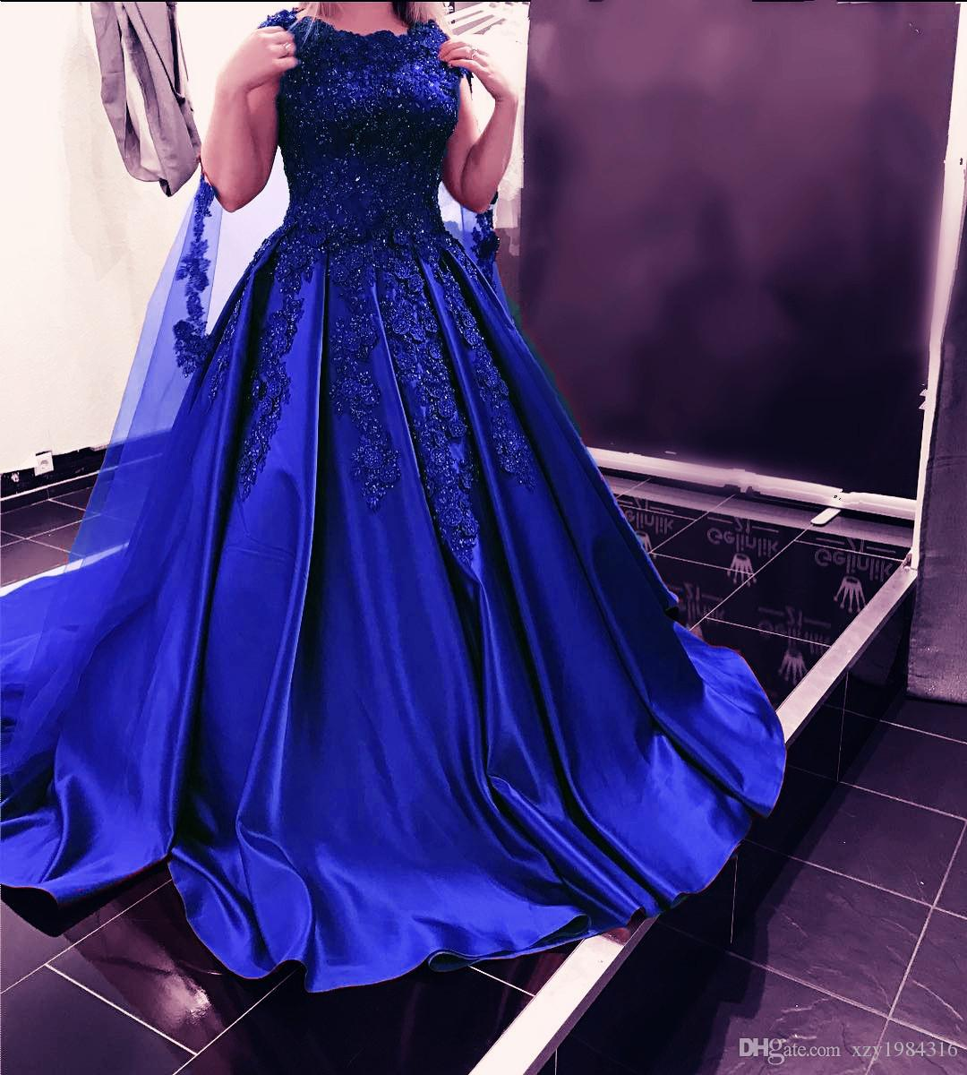 Royal Blue Satin Prom Dress With Tulle Wrap Beaded Lace Appliques Ruched Sleeveless Evening Dresses Elegant A-Line Long Evening Party Gowns