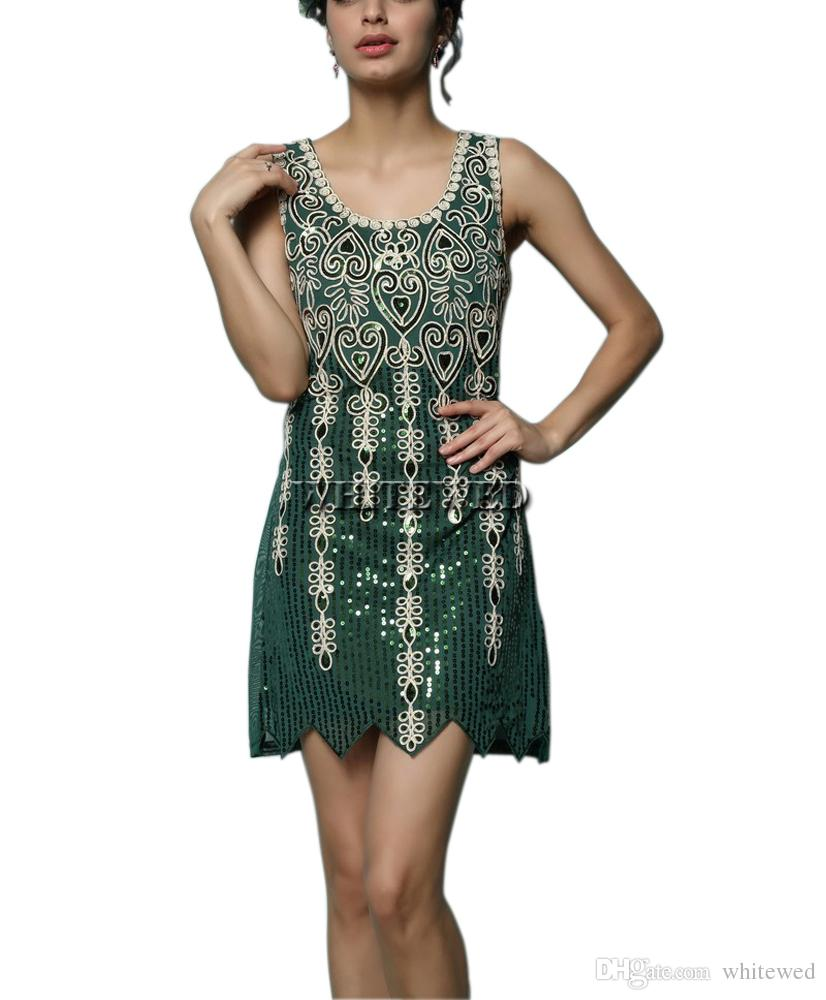 b65666196da Vintage Sparkle Vintage Embroideried 1920 s Art Deco Sequin Gatsby Flapper  Inspired Sequin Style Gowns Dresses Costume Outfits