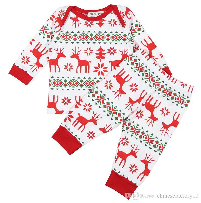 Ins Baby Christmas Elk Impresso Pijama Define Crianças Meninos Meninas Crianças Outono Manga Longa Tops Calças Casa Vestido Conjuntos de Roupas