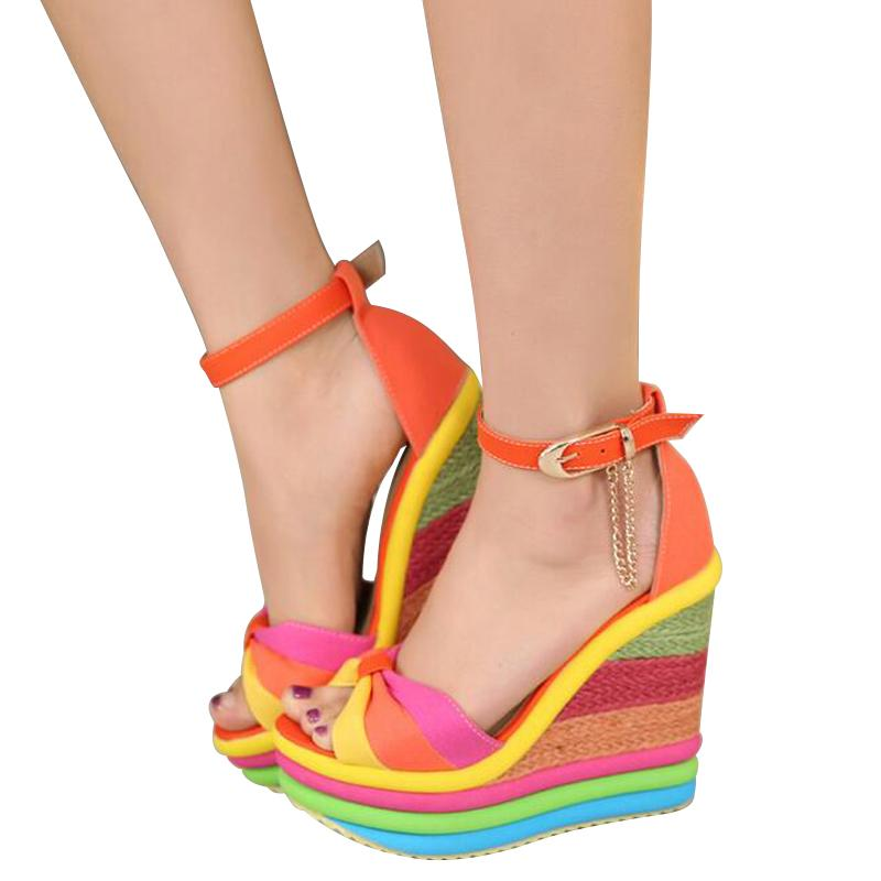 94a3c10d0e7d Platform Sandal Summer Ladies Shoes Bohemia Rainbow Thick Sole Sponge High  Heel Wedge Open Toe Women Sandals Ladies Sandals Girls Sandals From  Zhanglinshan