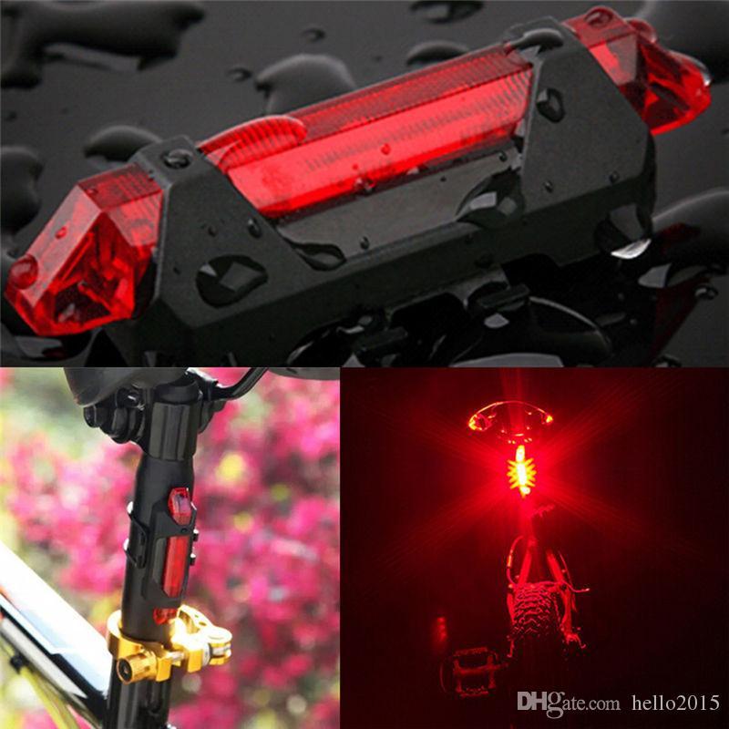 Portatile USB Ricaricabile Bicicletta Bicicletta Coda posteriore Sicurezza Spia fanale posteriore Rosso 2016 Super luminoso
