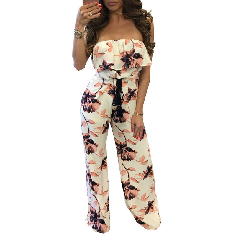 f558c59837f 2019 Wholesale One Piece Floral Print Woman Overalls 2017 Summer Off The  Shoulder White Ruffled Romper Jumpsuits Women Casual Boho Long Pants From  Roberr