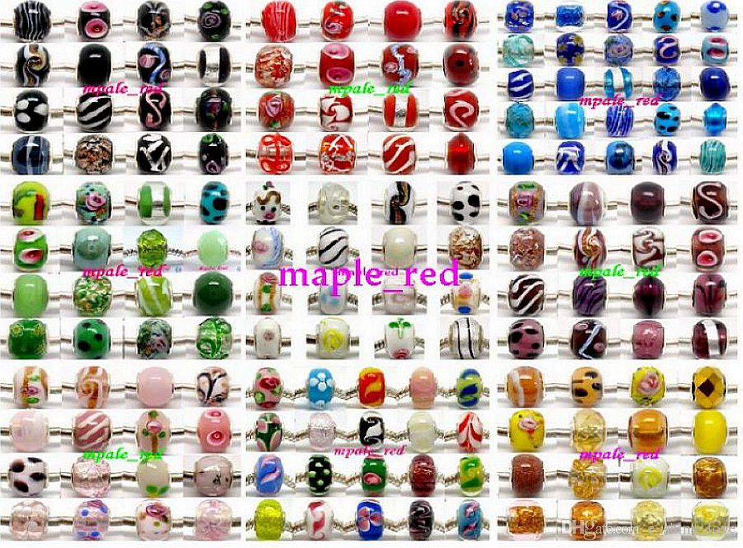 mixed 925 Sivler core Murano Glass Beads for Jewelry Making Loose Lampwork Charms DIY Beads for Bracelet Wholesale in Bulk Low Price