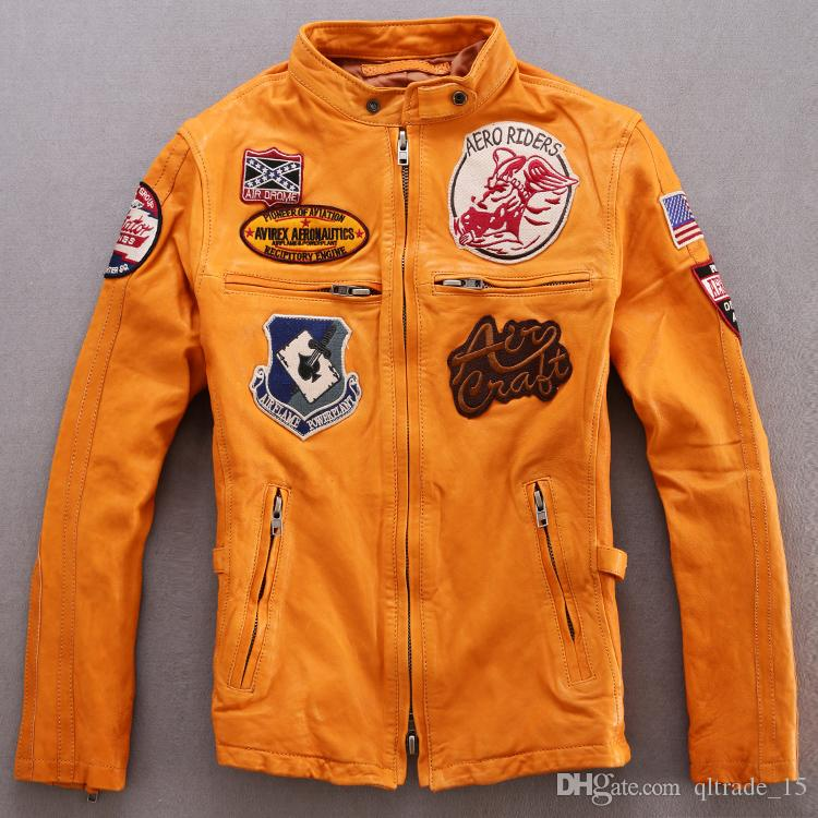 3 colours AVIREX genuine leather jackets flight jackets sale AERORIDERS AIR DROIVE Aviator wings motorcycle suit