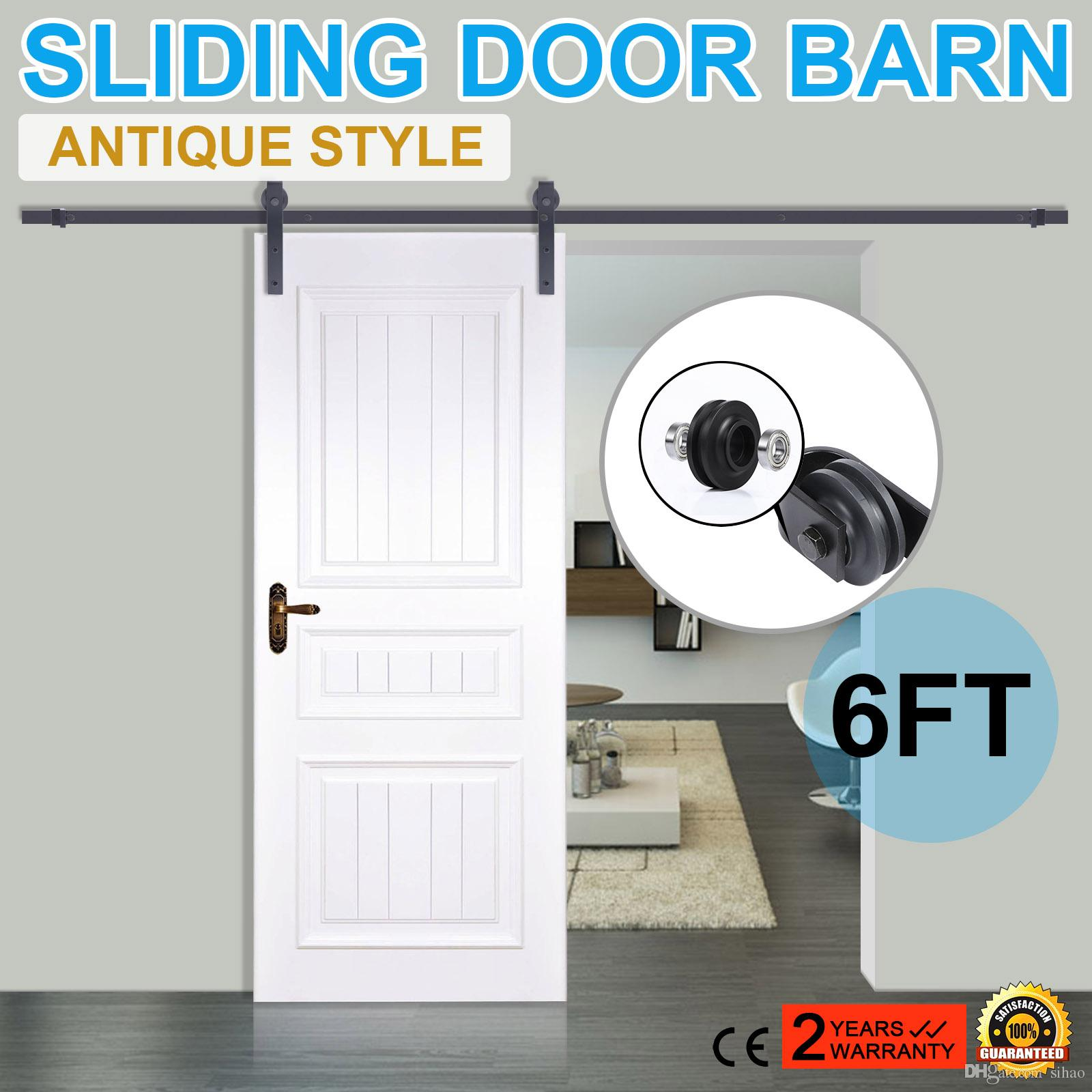 2018 New 6ft Sliding Door Barn Hardware Black Modern Antique Style Sliding  Barn Wood Door Hardware Closet Set From Sihao, $281.41 | Dhgate.Com