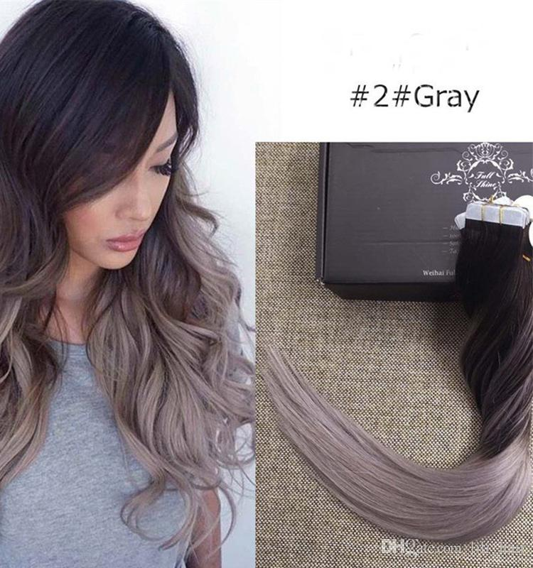 Tdance balayage ombre color 2 fading to grey brazilian remy hair tdance balayage ombre color 2 fading to grey brazilian remy hair tape extensions tape in human hair extensions glue hair extensions sassy hair extensions pmusecretfo Gallery