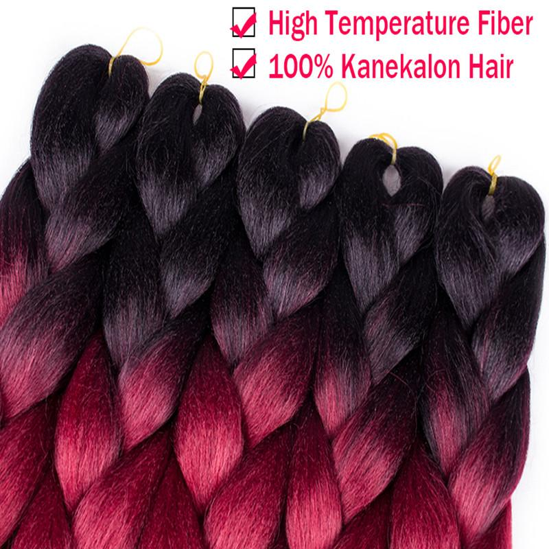 100g/pack 24inch Kanekalon Jumbo Braids Hair Ombre Two Tone Colored Synthetic Hair for Dolls Crochet Hair