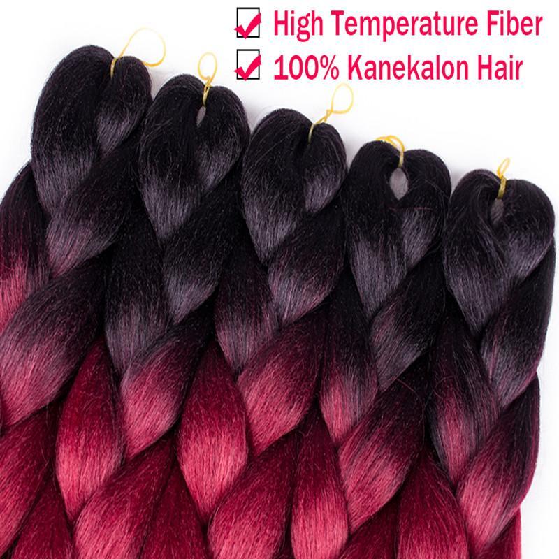 Ombre Kanekalon Braiding Hair 24 inch 100g/piece Synthetic Two Tone High Temperature Fiber Kanekalon Jumbo Braid Hair Extension