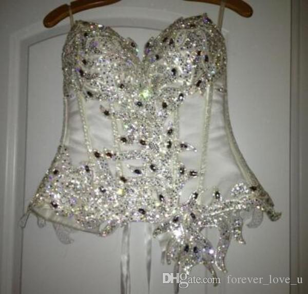 Vestido popular vestido de bola vestidos de casamento dois pedaços de luxo bling frisado cristais pérolas corset desgosto inchado tule saia vestidos nupculos