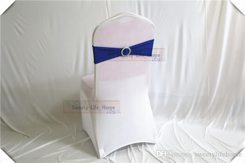 Ücretsiz kargo colorfulwedding sandalye yaylar Sandalye Bantları Gümüş Spandex Sandalye Kanat Yuvarlak toka ile Streç Likra bantları