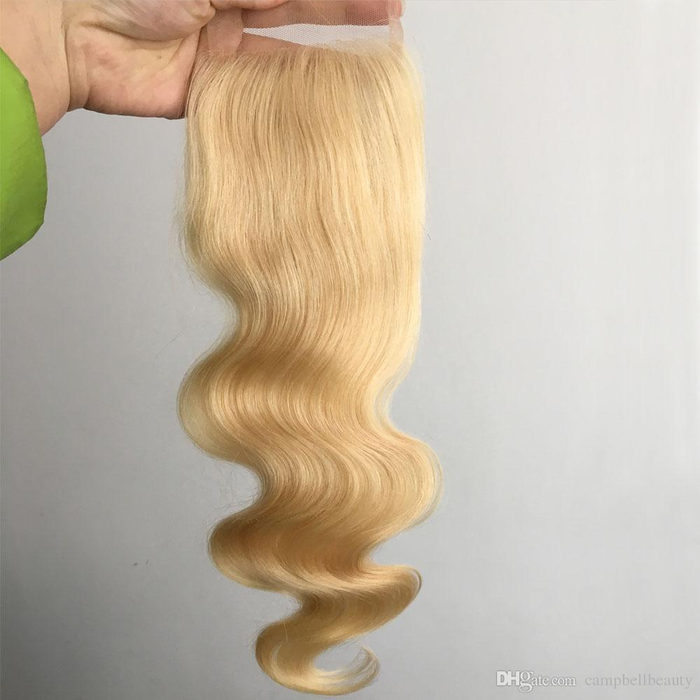 613 Blond Hair Top Closures Malaysian Lace Closure #613 Body Wave 100% Human Hair Closures middle part free part three 3 part available