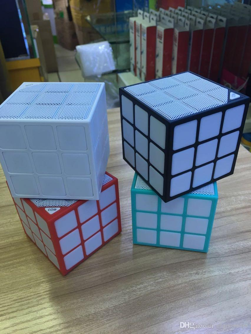Magic Cube Design Colorido 36 LED Flash Mini Speaker Sem Fio Bluetooth Portátil Super Bass Som Subwoofer Handsfree Para O Telefone, Tablet PC