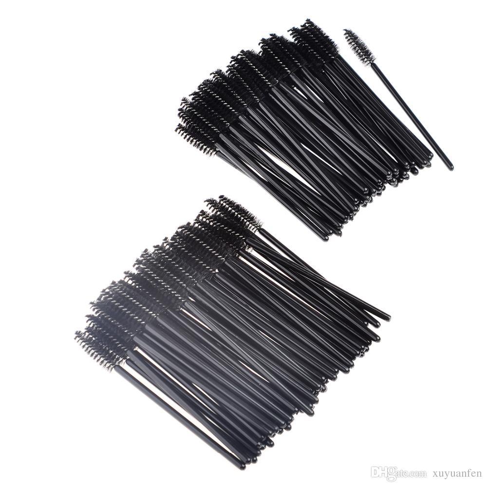 Venta de la fábrica 50 Unids / lote Desechables Espiral Pestañas Cepillo Ceja Cepillo Cosméticos Pinceles de Maquillaje Mascara Cepillos colores negros